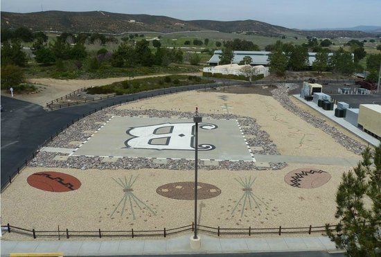 Barona Valley Ranch Resort & Casino: Barona Sand Painting & Helo Pad. Visible from upper parking garage floors.