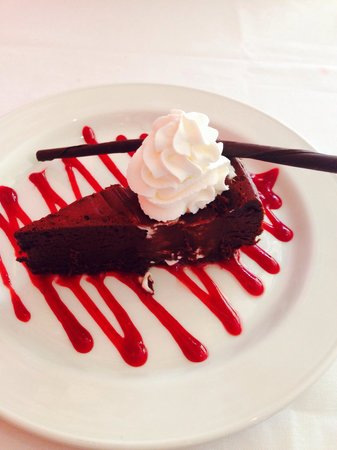 Jens' Restaurant: Flour-less chocolate cake with raspberry sauce. AMAZING!
