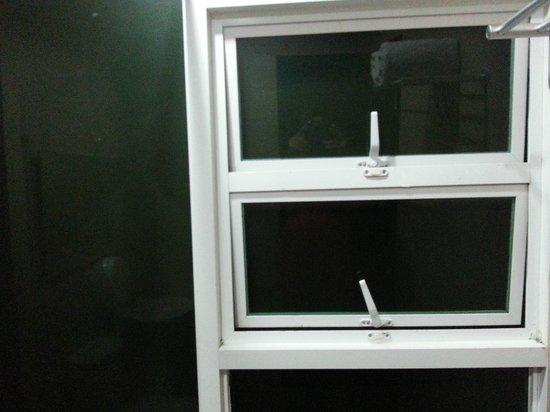 Green Windows Dormitel: Window opens to a wall
