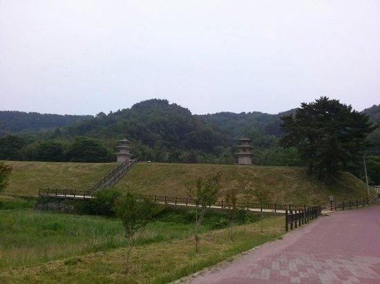 Gameunsaji (Gameunsa Temple Site): 주차장에서 본 감은사지