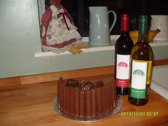 Shad Restaurant: Home made birthday cake with Shad own wine, what more could you ask for