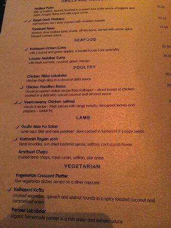 Veeraswamy : Awful menu choice.