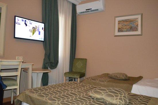 Antik Hotel Istanbul: Gehandicapte kamer: bedden en ruimte omheen