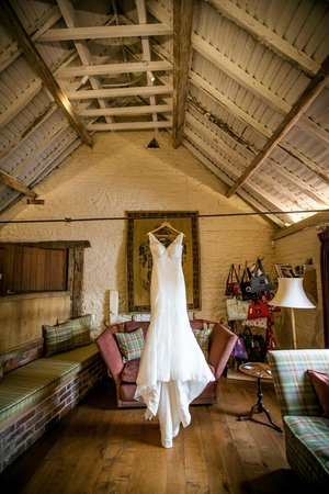Old Downton Lodge: Wedding Dress in Sitting Room