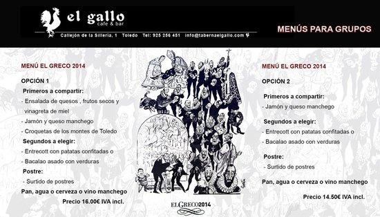 El Gallo : Menus para grupos