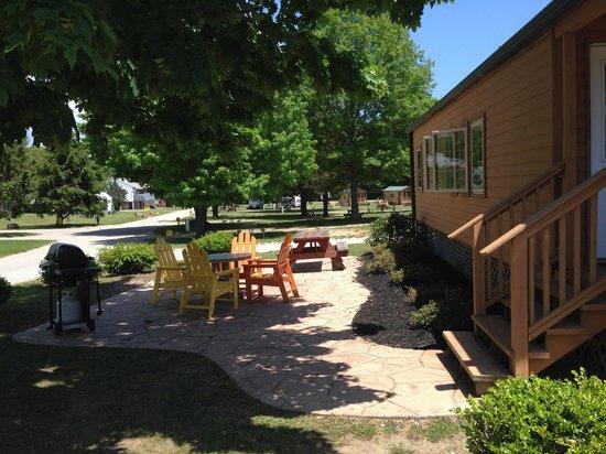 Mystic KOA: outside patio of KL-1