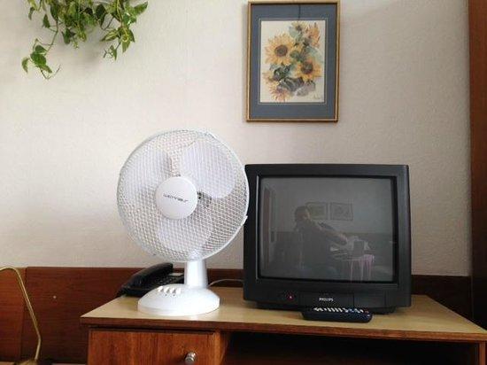 Pension Neuer Markt: Natura morta con ventilatore di plastica, pianta e televisore a tubo catodico.