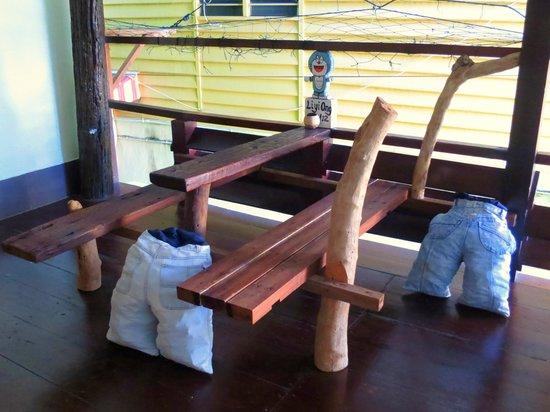 Pangkor Guesthouse SPK: eco-design table at terrance