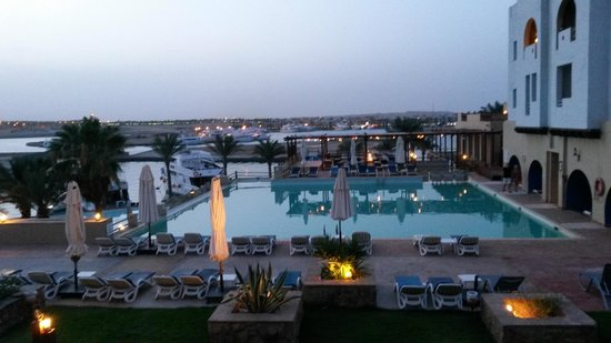Marina Lodge at Port Ghalib: after sunset from my room