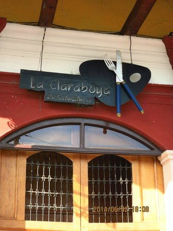 La Claraboya Restaurante: sign over main door