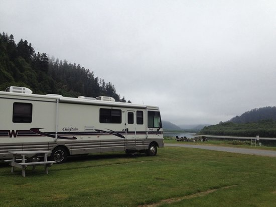 Klamath River RV Park: View of our campground on a misty morning.