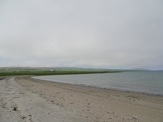Sands of Evie on approach road to Broch of Gurness