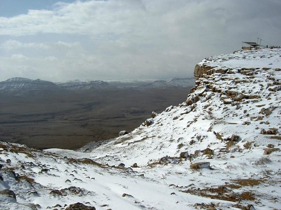 Deep Desert Israel: Snow on the rim of the Ramon Crater