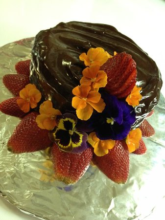 Tavern 27 : Dark Chocolate Strawberry Cake with flowers from our garden