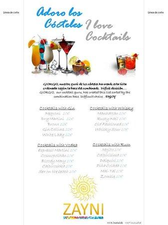 ZAYNI RESTAURANT Good Food & Cocktails Puerto Banus: cocktail menu 2