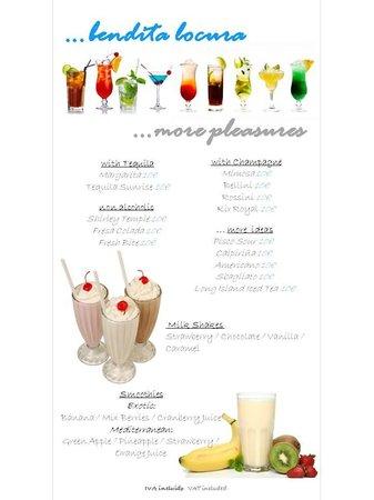 ZAYNI RESTAURANT Good Food & Cocktails Puerto Banus: cocktail menu 1