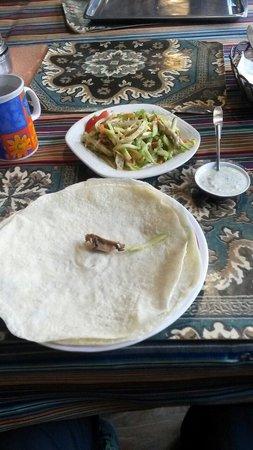 tashi I : Tibetan Tortilla with Creamed Cheese and veg