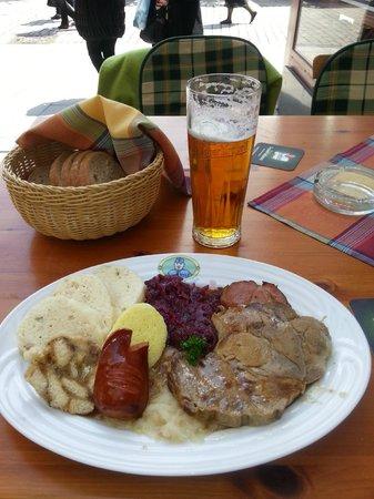 Restaurace U Svejka : Bohemian platter with my beer in the background