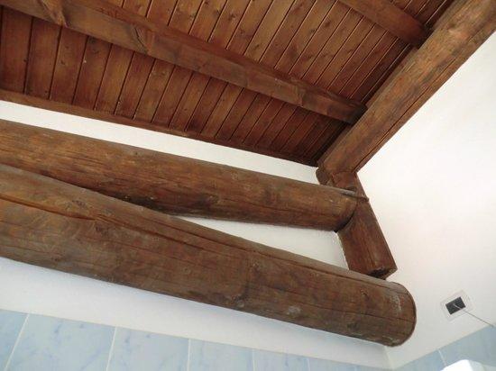 Agriturismo Sangallo: Travi a vista camera e bagno