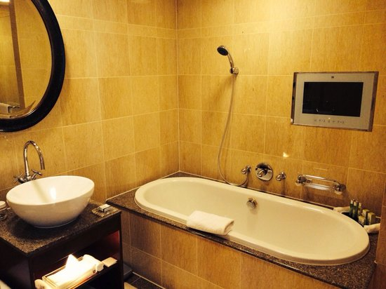 Hotel Okura Amsterdam: Executive room bathtub with TV, double shower also