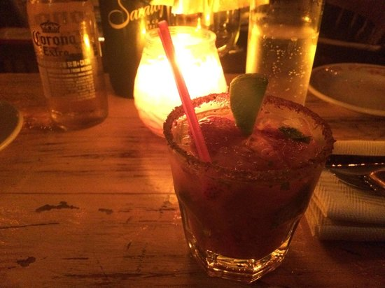La Esquina: Spicy drink with strawberries and pepper-infused tequila