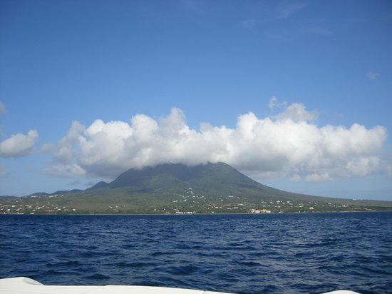 Four Seasons Resort Nevis, West Indies: first view of Nevis from the boat
