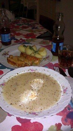 Polskie Smaki: Zurek (soup), pork roast, and potatoes