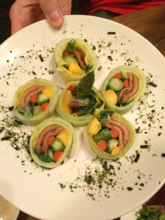 Aji Japanese Bistro: Special veggie roll for my vegan son!