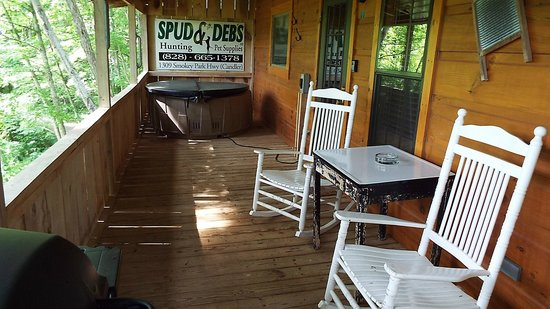 Cabins of Asheville : View of porch and hot tub