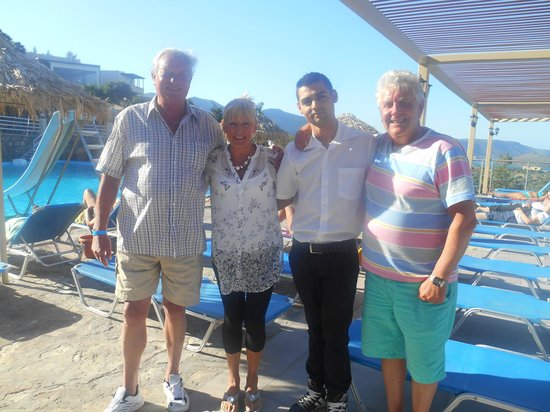 Elounda Water Park Residence: taken on our last day with George me Georgie( bar man) and Barry
