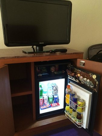 Camino Real Polanco Mexico: Camino Real minibar and TV.