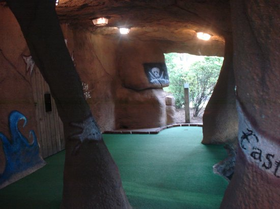 Pirate's Cove Miniature Golf: tunnel with waterfall