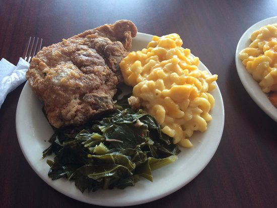 R C S Southern Cooking Fried Pork Chops With Mac Cheese And Collard Greens