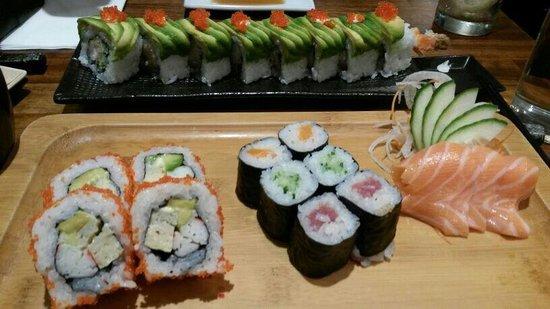 Sushiya: Dragon rolls at the back and maki set at the front