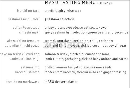 Masu: The Menu