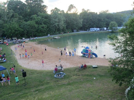 Yogi Bear's Jellystone Park at Natural Bridge: Volleyball court, beach, and swimming lake