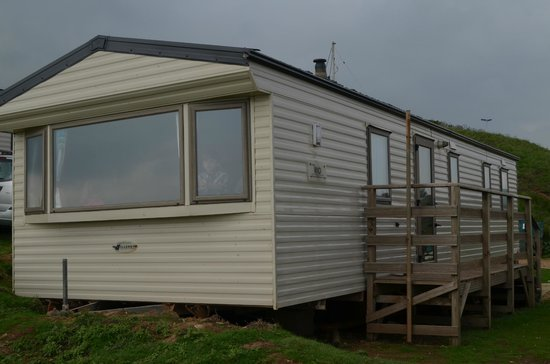 Grange Farm: View of cliff side static caravan
