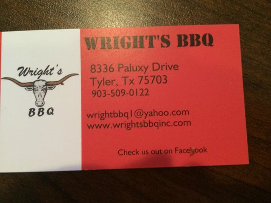 Business card - Picture of Wright's BBQ, Tyler - TripAdvisor