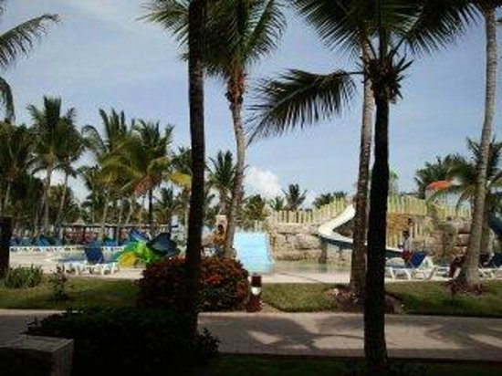"Barcelo Maya Colonial: Our ""Oceanfront"" room looks out onto kiddie pool slides, no ocean in sight"
