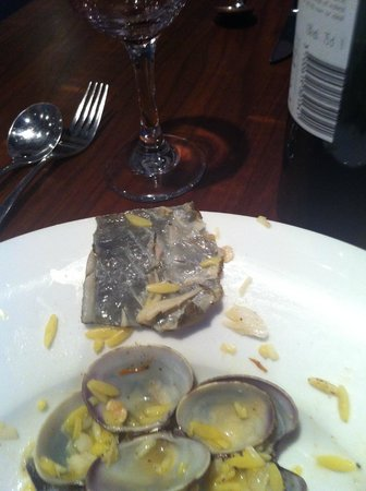 The George at Baldock: This was the size of cod skin about 1.5 inches clams shells no clams