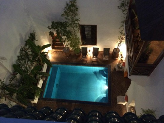 Riad l'Orangeraie: View of the Plunge Pool from the roof