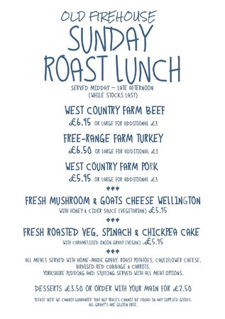 Sunday roast menu picture of old firehouse exeter tripadvisor old firehouse sunday roast menu forumfinder Gallery