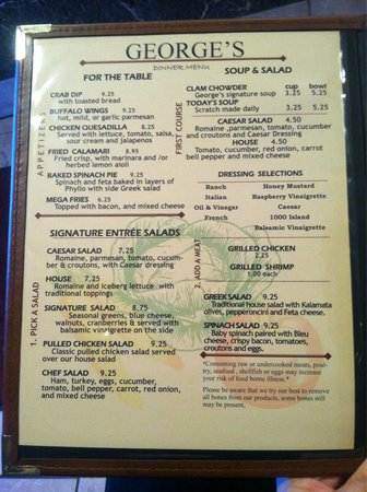 Oxford Nc Restaurants Georges Menu