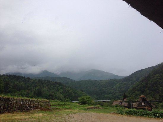 Shimizu: The view from the veranda on a cloudy day. On a clear day you can see the snowed top of Haku-San