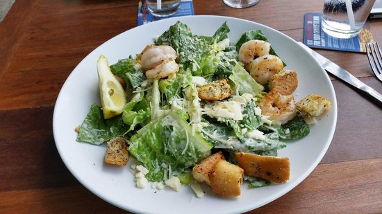 Bluewater Waterfront Grill: My Caesar Salad with Shrimp. Loved it!