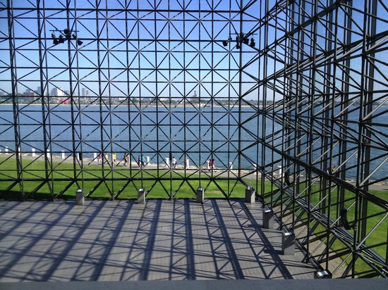 John F. Kennedy Presidential Museum & Library : View of Boston Harbor through the pavilion.