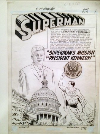 John F. Kennedy Presidential Museum & Library: Artwork for the special Superman issue dedicated to JFK's advocacy of physical fitness