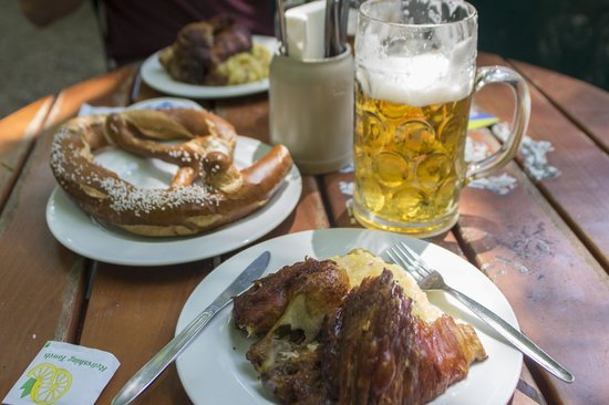 Augustiner-Keller: Bavarian Pretzel, Chicken quarter and pork knuckle.