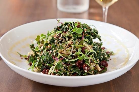 V's restaurant + bar: tuscan kale + red quinoa salad