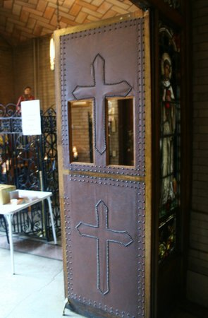 Basilica of Saint Lawrence: Leather door separating the main vestibule from the interior of the church